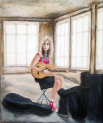 Junge, Raum, Guitarre, Fenster
