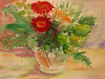 Aquarellmalerei, Glasvase, Blumen, Malerei