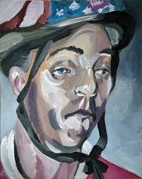 Sportler, Portrait, Helm, Malerei