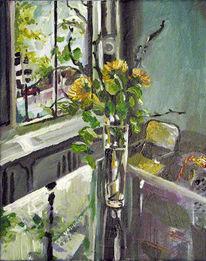 Fenster, Amsterdam, Vase, Blumen