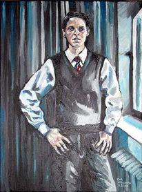 Junger mann, Malerei, Weste, Krawatte