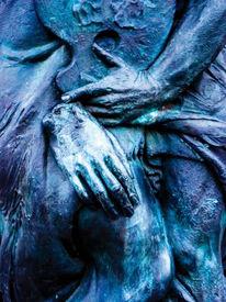 Surreal, Falten, Skulptur, Blau