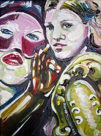 Mädchen, Frau, Augenblick, Maske