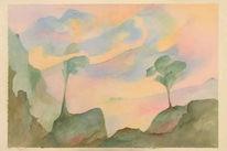 Aquarellmalerei, Grafik, Aquarell, Morgenstimmung