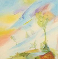 Lasurtechnik, Landschaft, Acrylmalerei, Malerei
