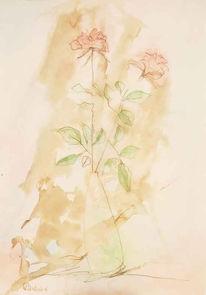 Grafik, Tusche, Aquarellmalerei, Blumen