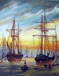 Landschaft, Malerei, Greifswalder, Hafen