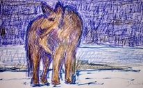 Landschaft, Tiere, Zeichnungen, Wolf