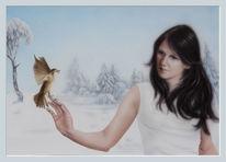 Aquarellmalerei, Spatz, Eis, Kälte