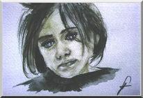 Traurig, Portrait, Kind, Figural