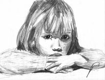 Zeichnung, Kind, Mädchen, Portrait