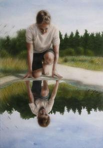Spiegel, Aquarellmalerei, Kind, Vater