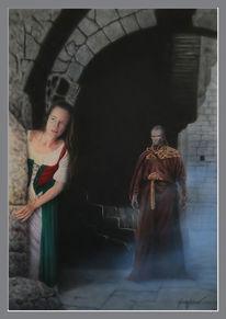 Dunkel, Priester, Acrylmalerei, Illustration