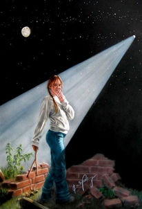 Mond, Fantasie, Malerei, Stern