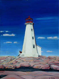 Küste, Meer, Malerei, Leuchtturm
