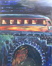Dunkel, Malerei, Tunnel, Eisenbahn