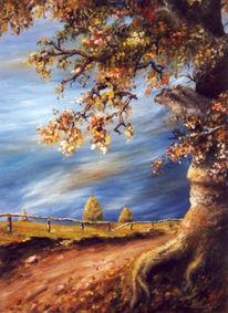 Malerei, Landschaft, Baum