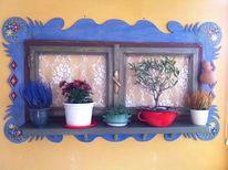 Blumen, Kalebasse, Holz, Vorhang