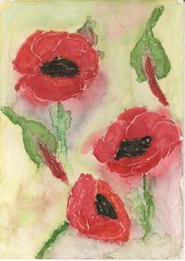 Blumen, Blüte, Mohn, Malerei