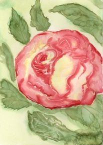 Aquarellmalerei, Blumen, Rose, Mischtechnik