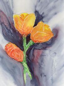 Tulpen, Blüte, Mischtechnik, Blumen