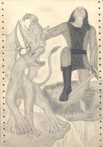 Zeichnung, Fantasie, Kampf, Mythologie
