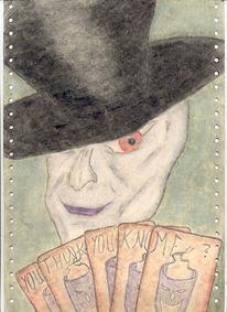 Hut, Karte, Pastellmalerei, Zeichnung