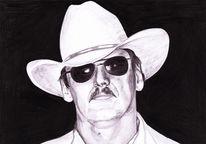 Zeichnung, Portrait, Zeichnungen, Cowboy
