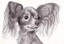 Zeichnung, Terrier, Russisch, Spielzeug