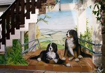 Hund, Treppe, Wandmalerei, Ausblick