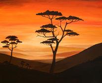 Braun, Malerei, Landschaft, Sonnenuntergang