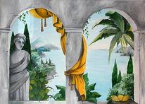 Badezimmer, Trompe, Illusionsmalerei, Wandmalerei
