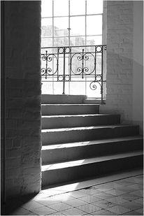 Fabrik, Monochrom, Treppenaufgang, Schwarz weiß