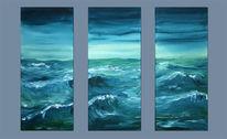 Türkis, Malerei, Sturm, Landschaft