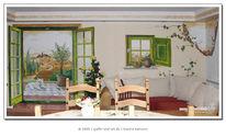 Wandmalerei, Landschaft, Trompe, Illusionsmalerei