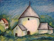 Kirke, Landschaft, Himmel, Malerei