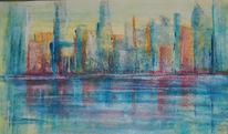 Stadt, Haus, Skyline, Abstrakt