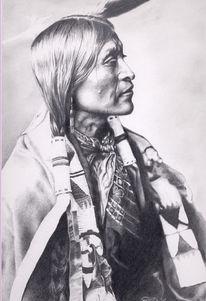 Zeichnung, Indianer, Westen, Apachen