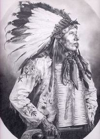 Wilder, Indianer, Westen, Zeichnung