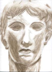 Skizze, Kopf, Kreidezeichnung, Zeichnung