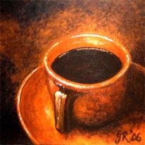 Malerei, Tasse, Rot, Kaffee