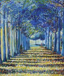 Malerei, Spaziergänger, Radfahren, Allee