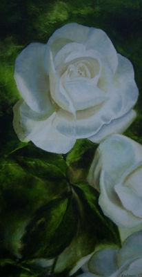 Grün, Malerei, Rose, Weiß