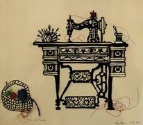 Scherenschnitt, Nähmaschine, Wolle, Kunsthandwerk