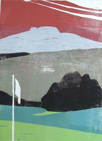 Landschaft, Holzschnitt, Druckgrafik,