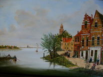 Gracht, Stadt, Person, Gemälde