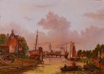 Abend, Zeitgenössisch, Schiff, Ölmalerei