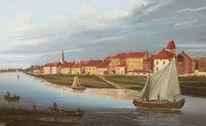 Ölmalerei, Landschaft, Kirche, Boot