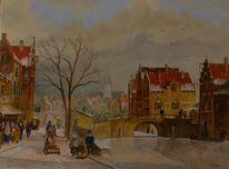 Holland, Zeitgenössisch, Boot, Landschaftsmalerei