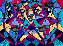 Augen, Gesicht, Sanduhr, Aquarell